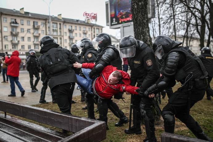 В республики Белоруссии проходят нелегальные акции протеста